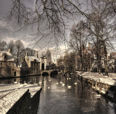Bruges In Christmas Dress Poster by Yvette Depaepe