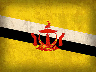 Brunei Flag Vintage Distressed Finish Poster by Design Turnpike