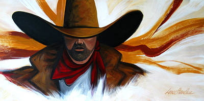 Poster featuring the painting Brushstroke Cowboy #4 by Lance Headlee