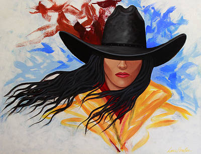 Poster featuring the painting Brushstroke Cowgirl #3 by Lance Headlee