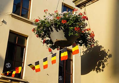 Brussels Belgium - Flowers Flags Football Poster by Georgia Mizuleva