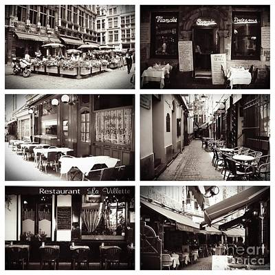 Brussels Cafes Collage Poster by Carol Groenen