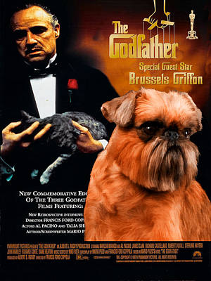 Brussels Griffon Art Canvas Print - The Godfather Movie Poster Poster by Sandra Sij