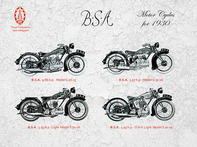 Bsa Motor Cycles For 1930 Poster