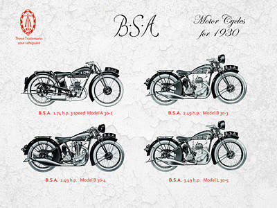 Bsa Motorcycles For 1930 Poster