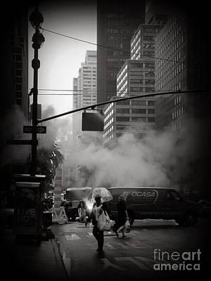 Bubble Umbrella - New York City In The Rain Poster by Miriam Danar