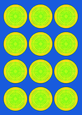 Bubbles Lime Blue Warhol  By Robert R Poster