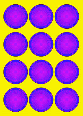 Bubbles Sunny Purple Blue Warhol  By Robert R Poster
