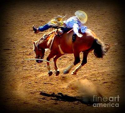 Bucking Broncos Rodeo Time Poster by Susan Garren