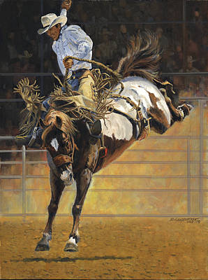 Cowboy Bucking Bronco Poster by Don  Langeneckert