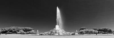 Buckingham Fountain Panorama Black And White Poster by Christopher Arndt
