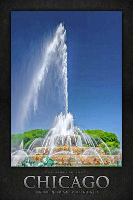 Buckingham Fountain Spray Poster Poster by Christopher Arndt