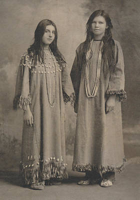 Poster featuring the photograph Buckskin  Beadwork Native American Girls by Paul Ashby Antique Image