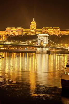 Buda Castle Chain Bridge Nightscape Poster by Tom Norring