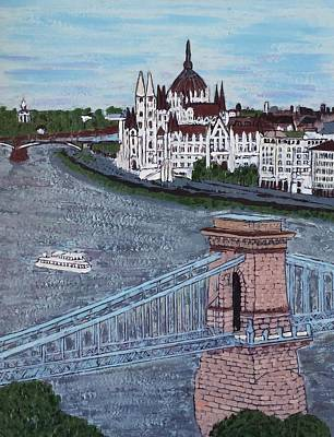 Budapest Bridge Poster by Jasna Gopic