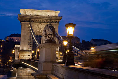 Budapest Bridge With Lion Poster