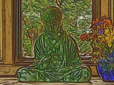 Buddha In Window With Blue Vase Poster