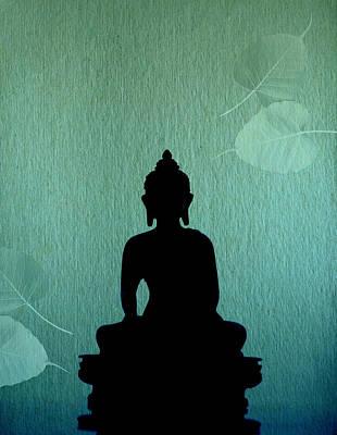 Buddha And Bodhi Leaves Poster by Niteen Kasle