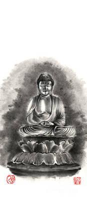 Buddha Buddhist Sumi-e Tibetan Calligraphy Original Ink Painting Artwork Poster