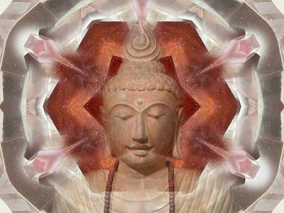 Buddha Head Crystal Mandala Poster