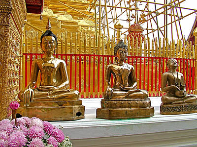 Buddha Images At Wat Phrathat Doi Sutep In Chiang Mai-thailand Poster by Ruth Hager