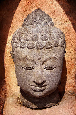 Buddha In Light And Shadow Poster by Carol Leigh