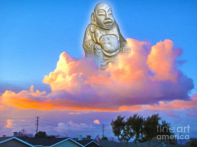 Poster featuring the painting Buddha In The Clouds Of Suburbia by Gregory Dyer