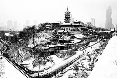 Buddha - Jiming Temple In The Snow - Black-and-white Version  Poster