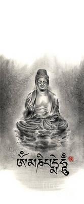 Buddha Mantras Mantra Buddhist Sumi-e Tibetan Calligraphy Original Ink Painting Artwork Poster by Mariusz Szmerdt