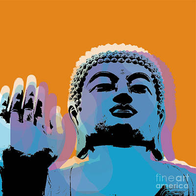 Poster featuring the digital art Buddha Pop Art - Warhol Style by Jean luc Comperat