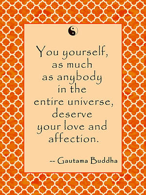 Buddha Quote Love And Affection Poster by Scarebaby Design