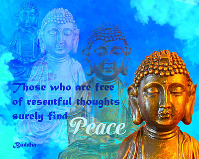 Buddha's Thoughts Of Peace Poster by Ginny Gaura
