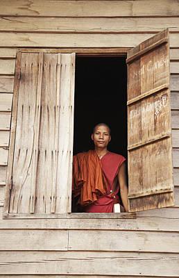 Buddhist Monk In Window Poster