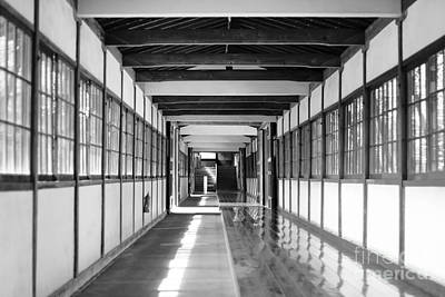 Buddhist Temple In Black And White - Passageway Poster by Beverly Claire Kaiya
