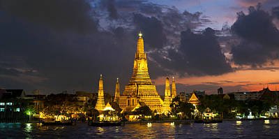 Buddhist Temple Lit Up At Dawn, Wat Poster by Panoramic Images