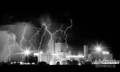 Budweiser Lightning Thunderstorm Moving Out Bw Pano Poster