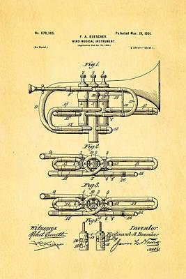 Buescher Epoch Cornet Wind Instrument Patent Art 1901 Poster by Ian Monk