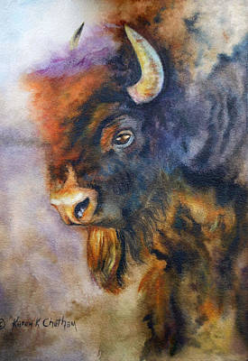 Poster featuring the painting Buffalo Business by Karen Kennedy Chatham