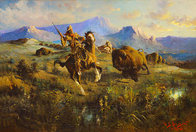 Buffalo Hunt Poster by Edgar Samuel Paxson