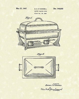Buffet Dish 1947 Patent Art Poster by Prior Art Design