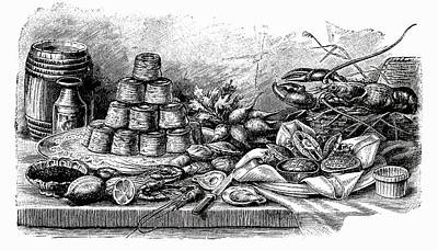 Buffet With Pies And Seafood (illustration) Poster