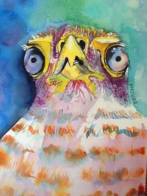 Poster featuring the painting Bugeyed Baby Bird by Karen bertha Calderon