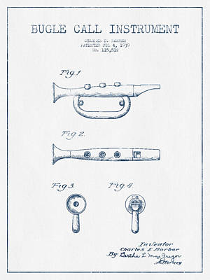 Bugle Call Instrument Patent Drawing From 1939 - Blue Ink Poster by Aged Pixel