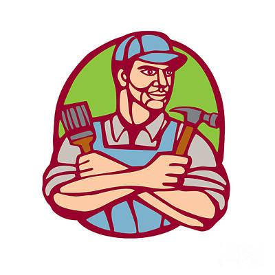 Builder Carpenter Paintbrush Hammer Linocut Poster by Aloysius Patrimonio