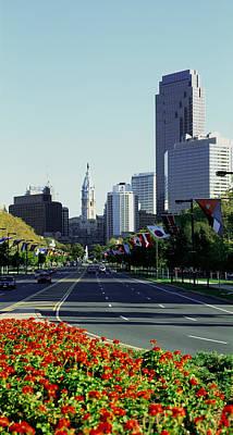 Buildings In A City, Benjamin Franklin Poster