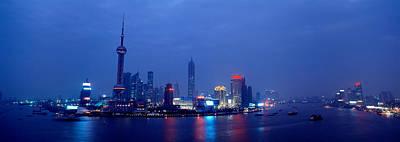 Buildings Lit Up At Dusk, Shanghai Poster