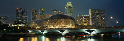 Buildings Lit Up At Night, Esplanade Poster by Panoramic Images