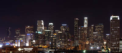 Buildings Lit Up At Night, Los Angeles Poster by Panoramic Images