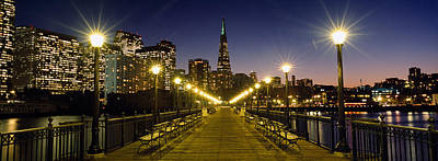 Buildings Lit Up At Night, Transamerica Poster by Panoramic Images