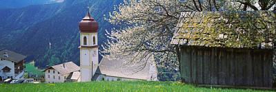 Buildings On A Hillside, Tirol, Austria Poster